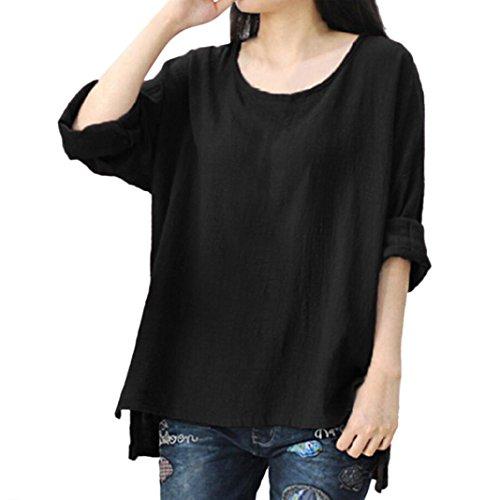 Damen Bluse Dasongff Frauen Lose Pullover Baumwolle und Leinen Große Bluse Langarmshirt T-Shirt Oberteil Tops Bluse Plus Größe L~4XL (Schwarz, XL) (Baumwolle Größe Rock Plus)