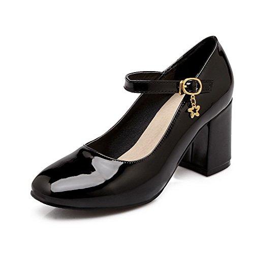VogueZone009 Femme Rond Boucle Verni Couleur Unie à Talon Correct Chaussures Légeres Noir