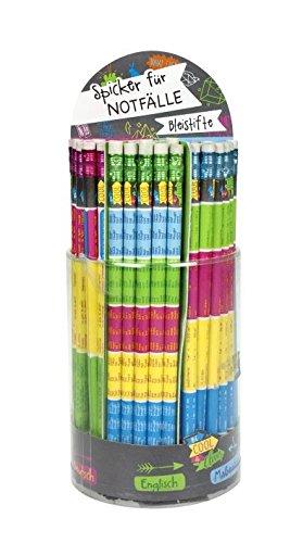 6x Spicker Bleistift | 6 verschiedene Themen | der Notfall-Stift | 1x1 | Mathe | Englisch | Deutsch