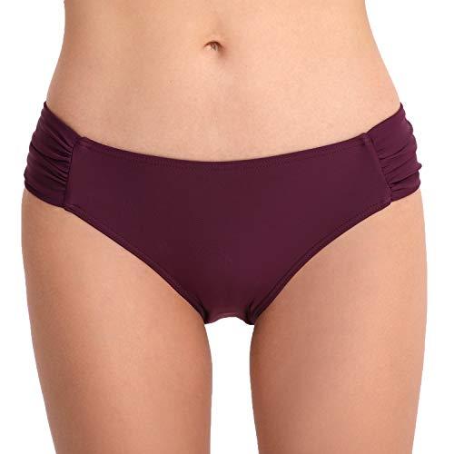 CAMLAKEE Damen Seitlich Geraffte Bikinihose Hipster Bikinislip Geraffte Bikini Unterteil Panty Dunkelviolett M