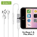 2-in-1 Lightning Kopfhörer Adapter für iPhone 7/8, 7/8 Plus, X/10 Kopfhörer und Laden Dual Lightning Adapter Splitter Musik hören und gleichzeitig Aufladen (Silber)