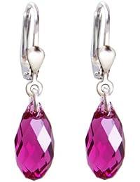 ed1b54ea2c04 925 pendientes de plata con cristales SWAROVSKI Briolette cristal fucsia