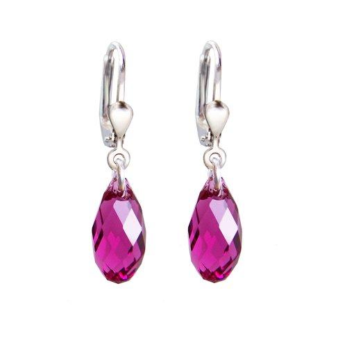 Schöner-SD, 925 Silber Ohrringe mit kleinen Kristallen von Swarovski® 13mm Farbe Fuchsia dunkles-pink