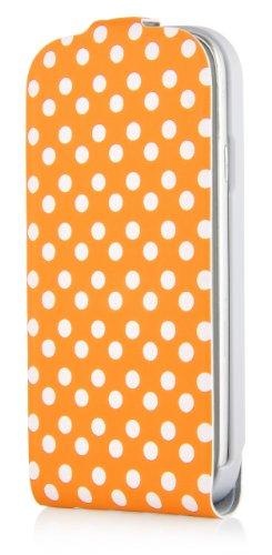JAMMYLIZARD   Polka Dot Flip Case Hülle für iPhone 5 und 5s, SCHWARZ ORANGE