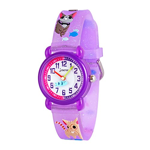 WOLFTEETH kleine Mädchen analoge Armbanduhr wasserdicht Schule Tag Christmmas Geschenk Sport Uhr einzigartige Transparenz Armband Violett Kätzchen 308402
