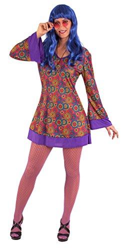 Zu Kostüm Grease Halloween - Karneval-Klamotten Hippie Kostüm Damen Flower-Power Peace Kleid Retro mit Stirnband 60er Jahre Damen-Kostüm inkl. Haarband lila Fasching Größe 36/38