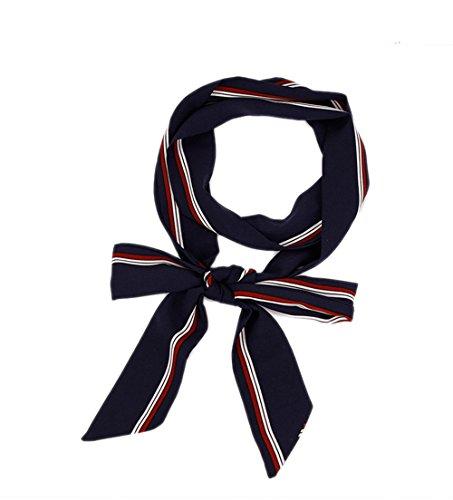 Damen Schmal Krawattenschal Skinny Satin Tie Scarf 200cm*4,5cm (Skinny Tie Blaue)