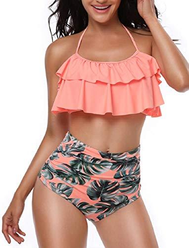 Voqeen Damen Bikini Set Push Up Badeanzug Hoch Taillierte Gepolsterte Neckholder Volant Strand Bademode Zweiteilige Rückenfrei Geteilter Badeanzug, Orange, M - Rüschen Neckholder Bh