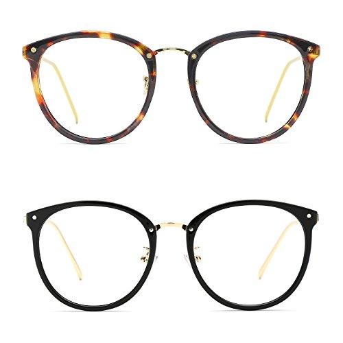 TIJN Round Vintage Optische Brillen nicht verschreibungspflichtigen Brillen Rahmen mit klaren Gläsern für Frauen