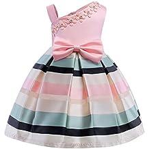 DRESS_start Vestido Para Bebé NiñAs Vestido Rosa De Flores Boda NiñA Sin Hombro Vestido De Princesa A Rayas Fiesta Infantil Elegante Bautizo Ceremonia Ropa Bebé NiñAs Para Verano