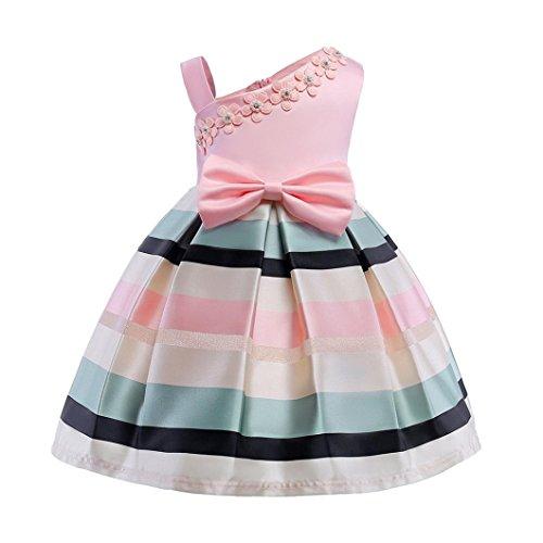 7727c023e4a DRESS_start Vestido para Bebé NiñAs Vestido Rosa De Flores Boda NiñA Sin  Hombro Vestido De Princesa