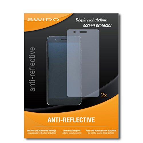 SWIDO Schutzfolie für Huawei Honor 6X [2 Stück] Anti-Reflex MATT Entspiegelnd, Hoher Härtegrad, Schutz vor Kratzer/Bildschirmschutz, Bildschirmschutzfolie, Panzerglas-Folie