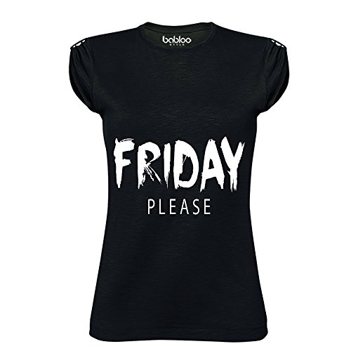 T Shirt Maglia Donna Friday Please Nera XL Cotone Fiammato