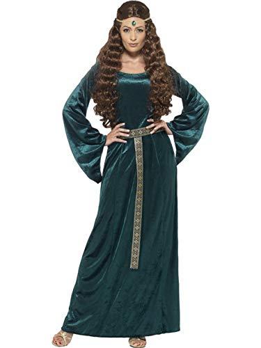 Kostüm Maid Mittelalterliche - Halloweenia - Damen Frauen Mittelalterliches Maid Magd Kostüm mit Kleid und Kopfschmuck, perfekt für Karneval, Fasching und Fastnacht, 2XL, Grün