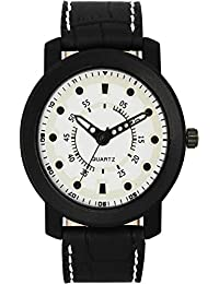 DLG New 2018 Arrival Analogue White Dial And Black Leather Attractive Watch Specially For Boys And Men