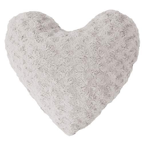 Couleur Montagne Himalaya Coussin Forme Cœur Imitation Fourrure en Polyester/Fibre Gris 40 x 40 cm