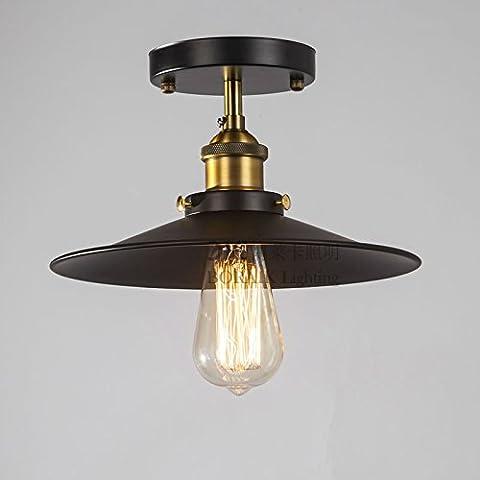 NASEN Loft American Country vintage lámpara de techo poco vestidos negros del balcón PASILLO pasillo lámpara de techo lámpara de techo de forma de platillo de hierro forjado negro lámparas de techo ,