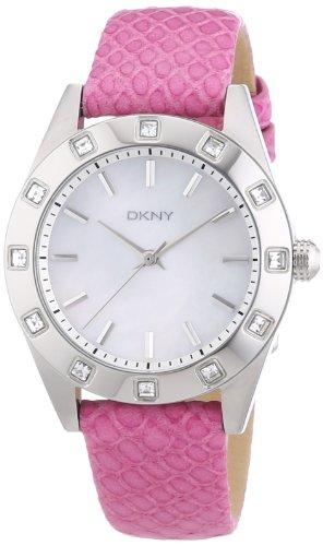 DKNY NY8787 - Reloj analógico de cuarzo para mujer, correa de cuero color rosa