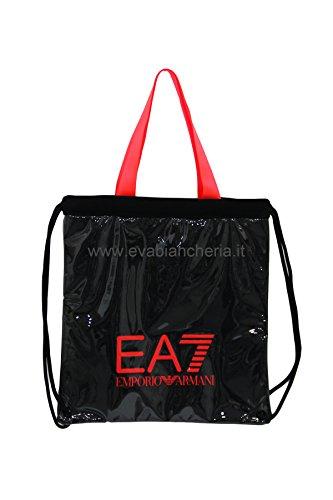 EA7 Emporio Armani Sporttasche Strandtasche Beach Mesh W Shopping - Shopper / Schopping Bag mit Logo aus Mesh, wasserdicht, neonfarben - Black - Fluo Red Nero