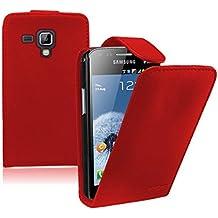Membrane - Rojo Funda Carcasa para Samsung Galaxy Trend Plus (GT-S7580) - Flip Case Cover + 2 protectores de pantalla