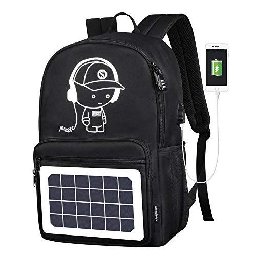 Womdee Solarbetriebener Laptop-Rucksack, wasserdicht, reflektierend, mit Solarpanel, Reisetaschen mit USB-Ladeanschluss, Diebstahlsicherung und USB-Kabel -