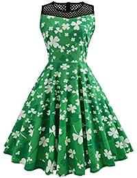 832f9b36744  St Patricks Kleid für Damen  Kleeblatt Kleid Ärmellos Swing Kleid  Festliche Partykleid St Patricks