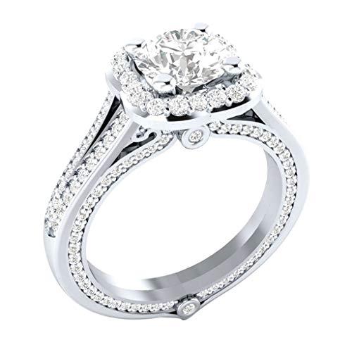 Floweworld Damen Personalisierte Ringe Metall voller Diamanten Microinlaid Zirkon Anweisung Jäten Ringe weiblichen Ring Schmuck -