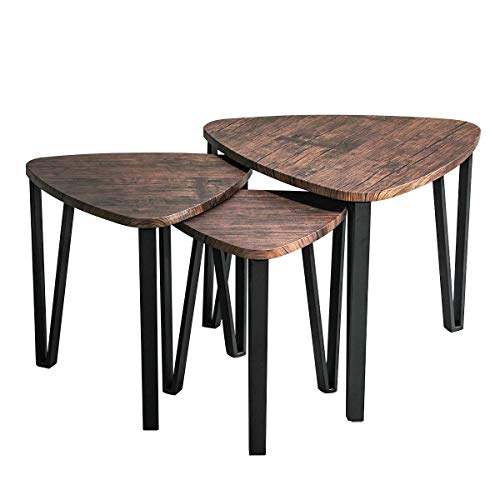 Homfa Tables Basses Set de 3 Table d/'appoint Style Industriel Vintage Tables Gigognes pour Salon Caf/é Fer Noir