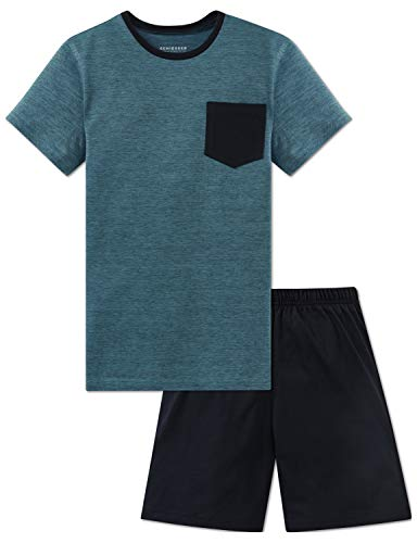 Schiesser Jungen Anzug kurz Zweiteiliger Schlafanzug, Blau (Türkis 807), 152 (Herstellergröße: S)