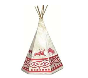 Petitcollin- 800204 - Jeu de plein air - Tente d'Indien avec Décor - Creme/Marron