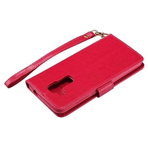 Luminous Wallet Pouch Case, Premium Embossing Fariy Girl & Floral Pattern PU Leder Folio Stand Case mit weichen TPU / Silikon Cover & Card Slots & Lanyard Strap für Huawei Nova Plus ( Color : Rose-red Rose-red