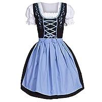 iDWZA Women's Oktoberfest Costume Bavarian Beer Drindl Tavern Maid Dress US S/CN M Blue