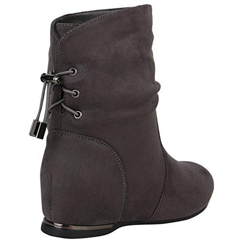 Bootsparadise Stivaletti Donna Stivaletti Foderati Stivali Piatti Zeppe Stivali Stivali Zeppa Scarpe Flanders Grigio Metallizzato