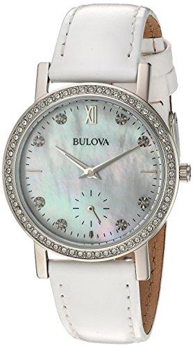 Bulova Crystal Femme 32mm Bracelet Cuir Blanc Quartz Analogique Montre 96L245