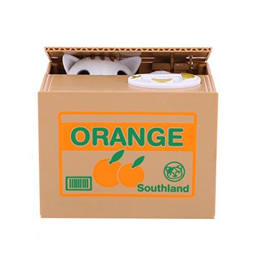 Elektrische Münzbehälter Elektrische Katze Spielzeug Interessante Geschenk für Kinder (Orange Katze)