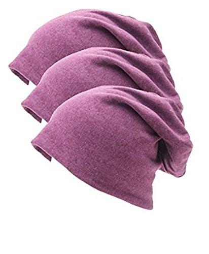 Lydreewam Lydreewam Fashion 3 Pack Unisex Soft Comfy Cotton Beanie Schlaf und Chemo Cap Hüte für Hairloss, Krebs