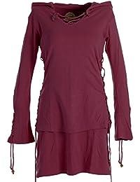 Vishes - Alternative Bekleidung – Warmes Doppellagiges Elfenkleid mit Zipfelkapuze und Bändern zum Schnüren