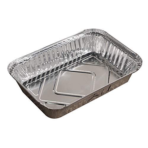 Busirde 10pcs Rechteck geformt Einweg-Aluminiumfolie Pan Take-Out Nahrungsmittelbehälter mit Aluminiumdeckeln/ohne Deckel