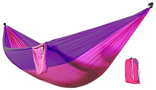 Zoophyter Double Camping Hammock, High Quality Nylon Fabric Parachute, Perfect for Park, Travel, Beach and Outdoor, With Free Hammock Rope & Steel Carabiners (Purple & Burgundy)