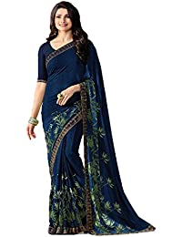 RAJESHWAR FASHION WITH RF Women's Georgette Printed Jacquard Lace Border Work Sarees embroidery Saree With Blouse Piece