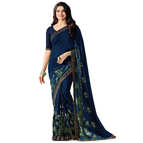 Hinayat Fashion Blue Chiffon Silk Saree HNT539