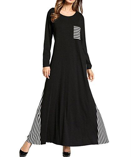 e Streifen Gespleißt Langes Kleid, Damen Casual Maxi Langen Ärmeln Kleid, Dubai Kaftan Kleid, Schwarz,XL (Typ Kostüm Kaftan)
