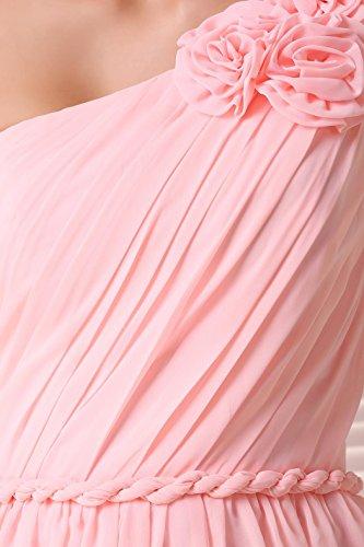 EnjoyBridal®Robe de Soirée Cérémonie Cocktail fête Party Robe Femme courte Demoiselle D'honneur Une Epaule Asymétrique Sans Manche En Mousseline Bleu Marine