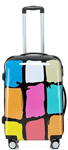 Reise Koffer Trolley mit Polycarbonat ABS Hartschale und Motiv BB (3: 70 Liter - Gr. L, Colors)
