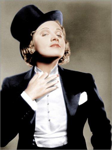 Posterlounge Leinwandbild 120 x 160 cm: Marlene Dietrich mit Anzug und Zylinder von Everett Collection - fertiges Wandbild, Bild auf Keilrahmen, Fertigbild auf echter Leinwand, Leinwanddruck