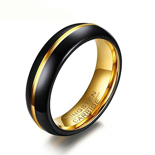 Daesar Herren Wolframkarbid Ringe Tungsten Gold Schwarz Gotik Ring 6MM Verlobungsring Trauringe Gr. 60 (Im Katze Flash Kostüm)