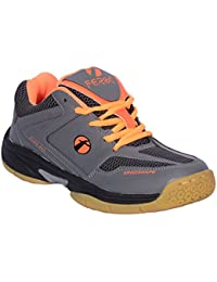 Feroc Non Marking Gray Orange Unisex Badminton Shoes (FREE Delivery)