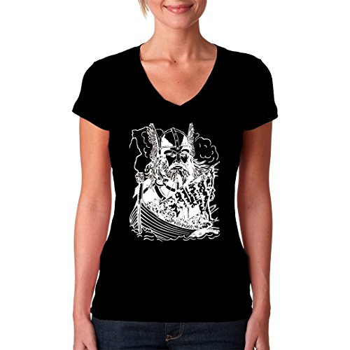 Gothic Fantasy Girlie V-Neck Shirt - Wikinger Drachenboot by Im-Shirt Schwarz