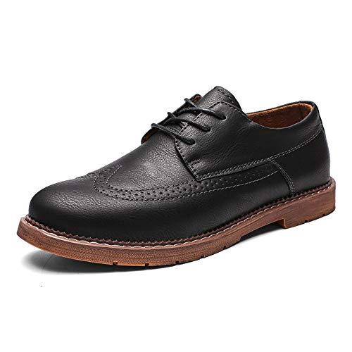 Apragaz Herren Anti Slip Brogue Schuhe Schnüren Sich Wingtip Oxfords Lederne Haltbare Geschäftsformelle Kleidschuhe (Color : Schwarz, Größe : 41 EU) -