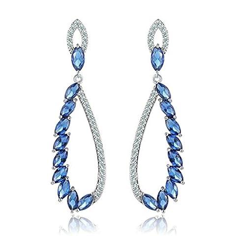 AnaZoz Bijoux Femme Boucles d'Oreilles Fantaisie Plaqué Or Blanc Hollow Drop Incrusté Cristal Autrichien Bleu Pendants d'Oreilles